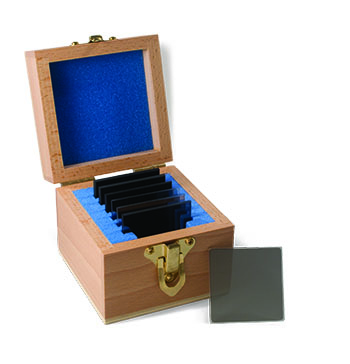 Photo of Andover's Neutral Density Filter set with wooden storage case